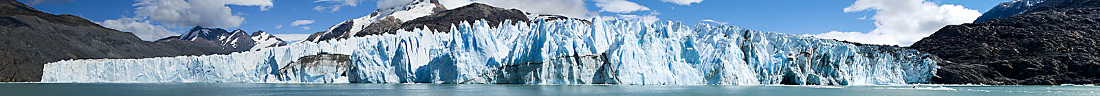 Panorama, stiched photography, of O'Higgins glacier, Chile - Banner