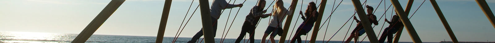 Ventspils, Latvia, swing on beach - Banner
