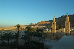 Saint Anthony monastery, dusk, full moon, Egypt.