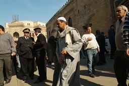 Muslims leave Al Azhar mosque after Friday prayer, Cairo.