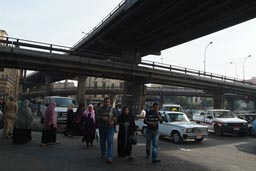 Cairo Pedestrians-traffic under flyover.