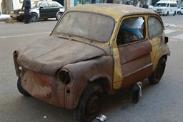 cairo, rusty little, fiat car.