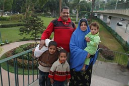Happy Muslim tourist family in Cairo.
