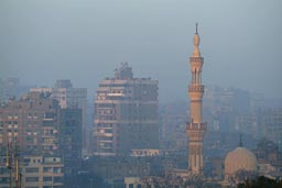 Morning, minaret, smog, Cairo.
