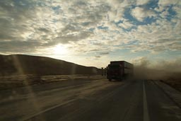 Truck approaches, dust flies, Sinai.