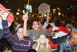 Egyptian football fans in Cairo, street celebrations, CAN 2010.