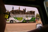 Border Mali/Niger, hides loaded on top of bus.