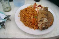 Tilapia, fish and Jolof rice
