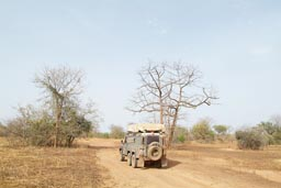 Niger national park, lonelyness, dust and heat, 6 wheeled Land Rover, northern Benin.