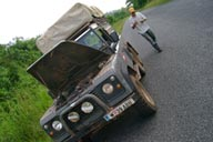 Land Rover, me, roadside repairs.