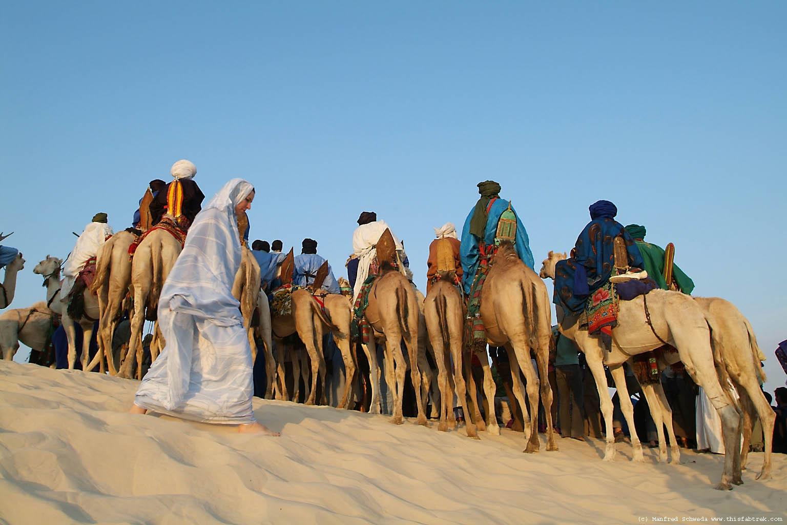 Tuareg gathering before sunset