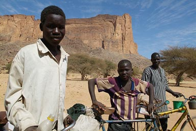 Dogon boys on bicycles near Boni, Mali. Ouro Nguerou.