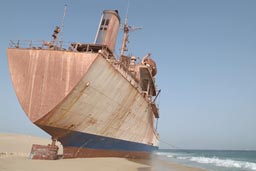 Cap Blanch near Nouadhibou, beach, stranded ship