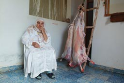 Great grandmother content, looking after skinned mutton. Aid el-Khebir. Morocco