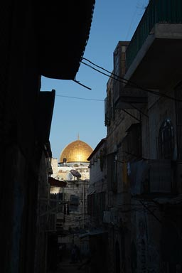 Dome of the rock, Jerusalem, between houses.