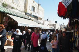 Jerusalem, crowded street behind Damascus gate.