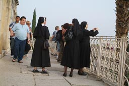 Nuns in Capharnaum, the synagogue.