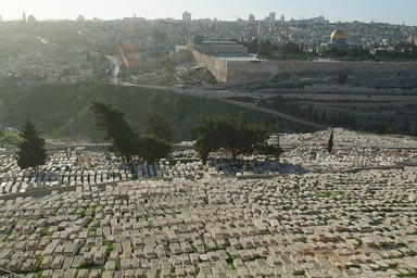 Dome of the Rock, Jerusalem, viewed from Mount of Olives, Jewish cementry.