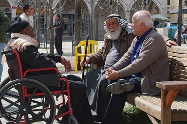 Arab men Manger Square Bethlehem.