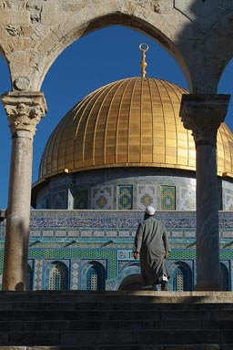 Muslim Arab enters Dome of the Rock.