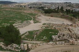 Jerash, oval piazza, from Theater.