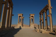 Morning shot, end of decumanus is the tetrapylon. Palmyra.