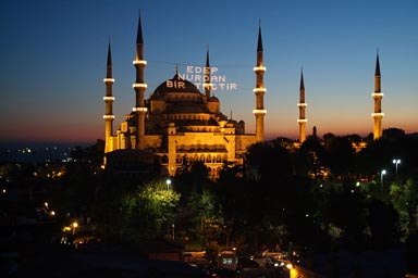 Lighting during Ramadan of Sultan Ahmed mosque.