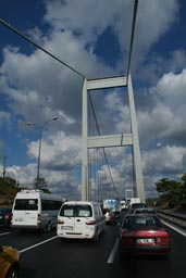 Traffic on Fatih Sultan Mehmed Bridge.
