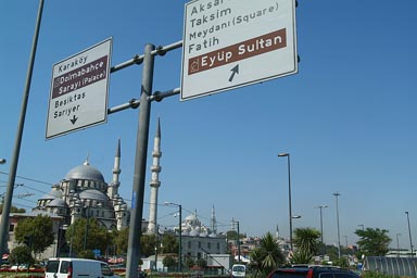 Istanbul, Yeni Camii mosque and trafic signs.