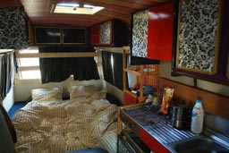 Inside the hippie van, Mercedes 307, interior of the camping bus.
