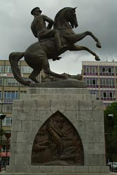 Statue by Austrian Heinrich Krippel of Ataturk on horse.