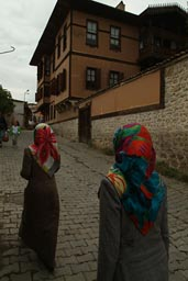 Turkish female tourists, Safranbolu, wearing headscarves.