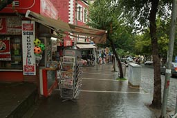 Kiosk in rainy Trabzon, Turkey.