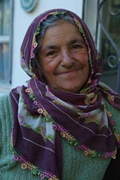 Old women in Camlikaya, grey hair, unveiled, smiling, Black sea coast region Turkey.