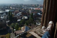Sitting on clock tower, early morning Erzurum below in a haze.