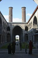 Double Minaret Medresse, Erzurum, veiled Muslim women.