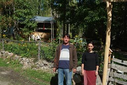 Murat and sister in front of their camping, Coruh valley, Turkey, soon to be submerged by water.