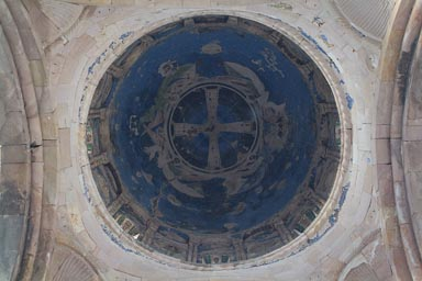 Ishan blue fresco in Dome of Georgian Church, Turkey.