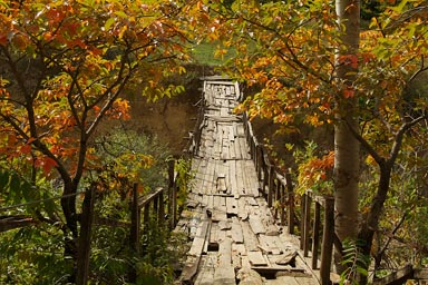 Wooden suspension food bridge eastern Turkey, near Ardanuc.
