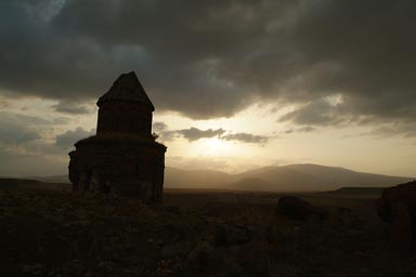 Ani, St. Gregory of the Abughamrents. Sunset behind clouds.