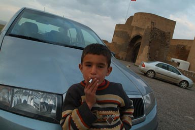 Boy on parking Ani, leans on car bonnet and smokes cigarette. Ani's city walls in back.