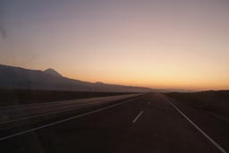 Morning, road to sunrise, Mount Ararat region Turkey, road to Iran.