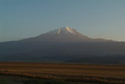First rays of sunlight touch the snowy peak of Mount Ararat.
