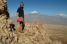 Me viewing Mount Ararat, from top of opposing mountain. Turkey.