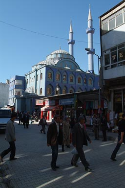 Modern Van street and mosque Turkey.