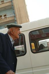 Old man, french hat, Mardin, Turkey.