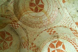 Rock church, ochre frescoes, Cappadocia.