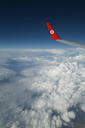 Turkish Airlines, wing over clouds.