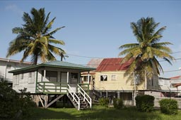 Wooden houses on poles, near water front old Belize City.