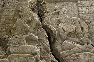 Figures on broken stelae, Caracol, Belize